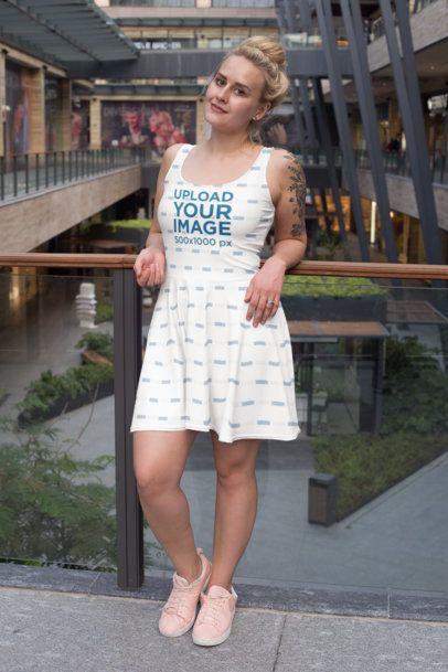 Skater Dress Mockup Featuring a Tattooed Woman at a Mall 27999