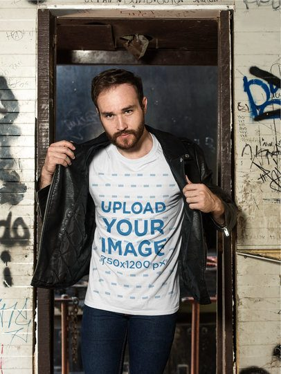 T-Shirt Mockup of a Man with a Leather Jacket in an Abandoned Building 28192