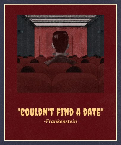 Funny T-Shirt Design Maker Featuring Frankenstein at the Movies 1569a