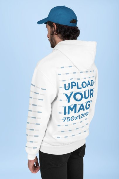 Back of a Hoodie Mockup Featuring a Man at a Studio 28315