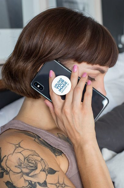 Phone Grip Mockup Featuring a Tattooed Woman Talking on Her Phone 28150