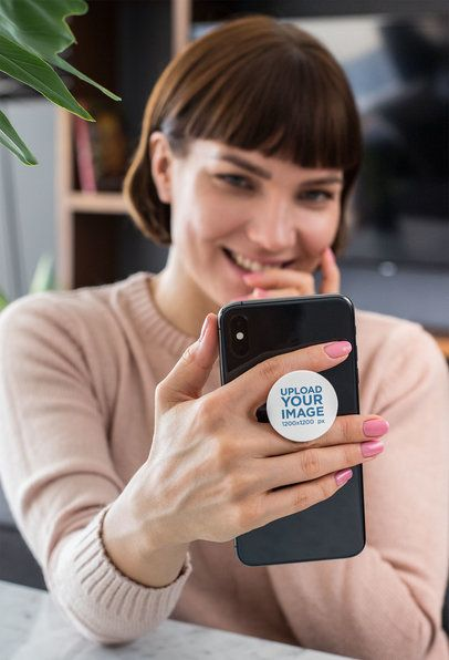 Phone Grip Mockup of a Woman Holding Her iPhone 28157