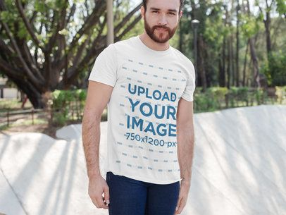 T-Shirt Mockup Featuring a Bearded Man Posing at an Urban Park 28212
