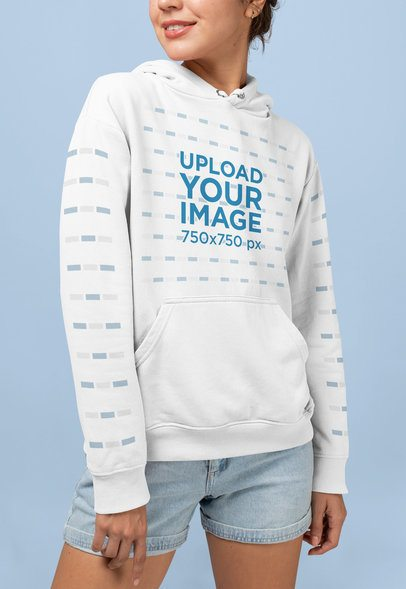 Pullover Hoodie Mockup Featuring a Woman Smiling at a Studio 28324