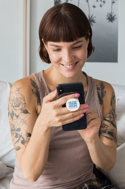 Phone Grip Mockup of a Tattooed Woman Holding Her Phone 28152