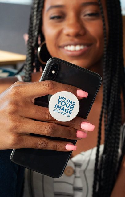 Phone Grip Mockup of a Smiling Woman Holding Her Phone 28167