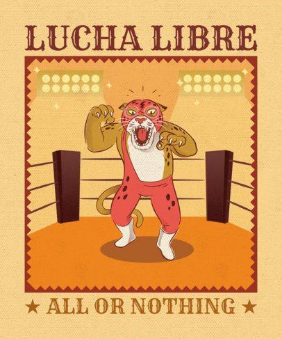 T-Shirt Design Maker Featuring a Wrestling Leopard 1635