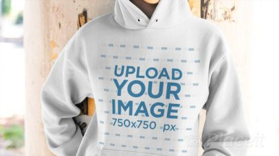 Hoodie Video Featuring the Closeup of the Print 13195