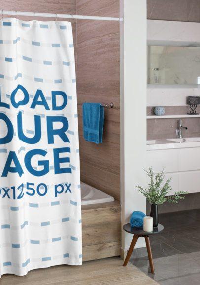 Mockup of a Shower Curtain in a Minimalist Bathroom  28539