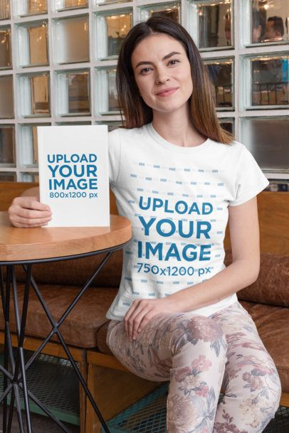 T-Shirt Mockup of a Woman Promoting a Book 28485