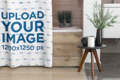 Mockup of a Shower Curtain on a Bathroom 28540