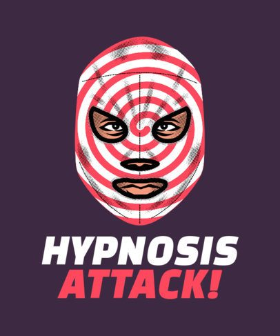 T-Shirt Design Maker Featuring a Fighter in a Hypnosis-Spiral Mask 1640c
