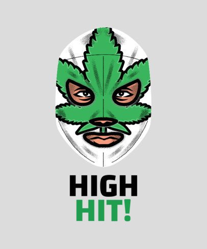 Wrestler T-Shirt Design Maker with a Marijuana Mask 1640d