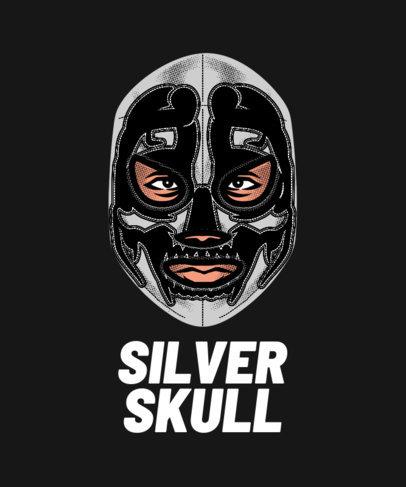 Dark T-Shirt Maker Design Featuring a Fighter in a Skull Mask 1640j