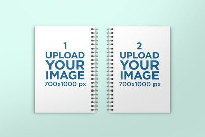 Mockup of Two A5 Spiral Notebooks Lying Side by Side 311-el