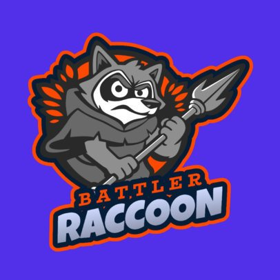 Gaming Logo Template with a Funny Raccoon Warrior 2401d 2407