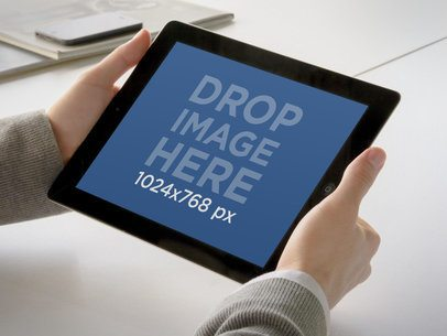 iPad Landscape Held Both Hands