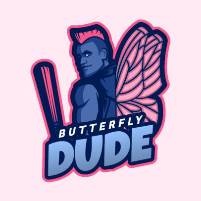 Gaming Logo Template Featuring a Fortnite-Style Butterfly Man 2399d 2407