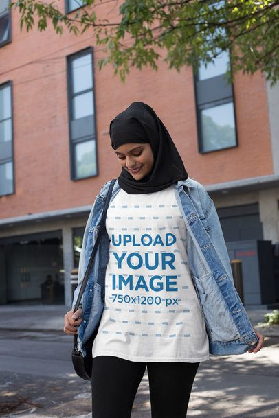 Mockup of a Woman with a Hijab Wearing a Crewneck T-Shirt 28411