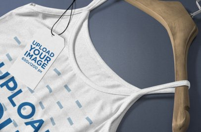 Mockup of a Brand Tag Lying on a Tank Top 367-el