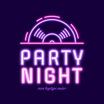 Logo Template for a Nightclub Featuring a Neon Spinning Vinyl Disc 2413g