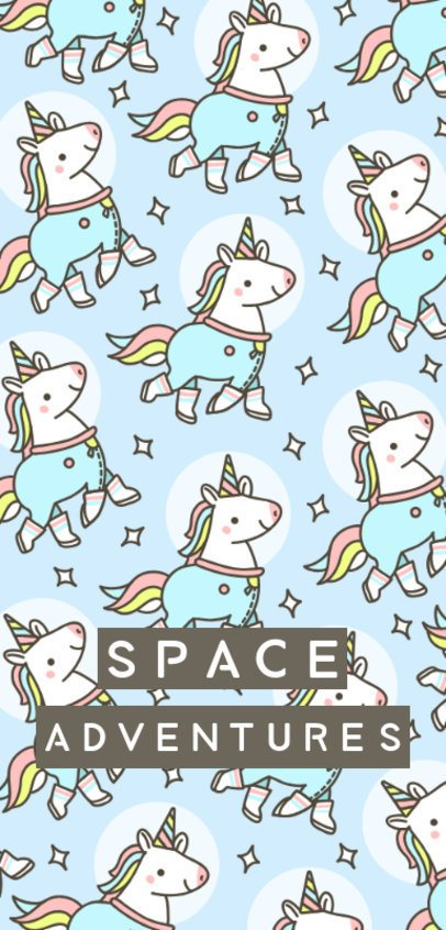 Phone Case Design Template Featuring Space Unicorn Illustrations 1687h
