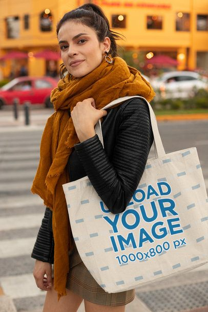 Tote Bag Mockup Featuring a Woman with a Scarf at a Street 28857