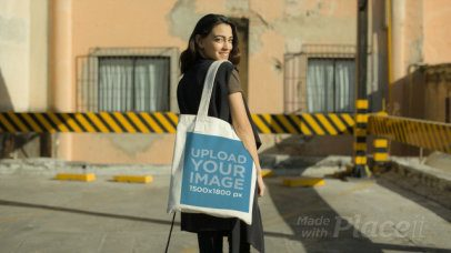 Tote Bag Video of a Woman Posing in Front of an Old Building 13935