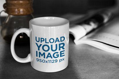 11 oz Mug Mockup Featuring a Shady Desk 408-el