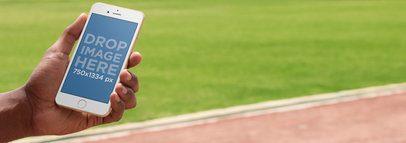 Black Man at the Park Using an iPhone Mockup a9510