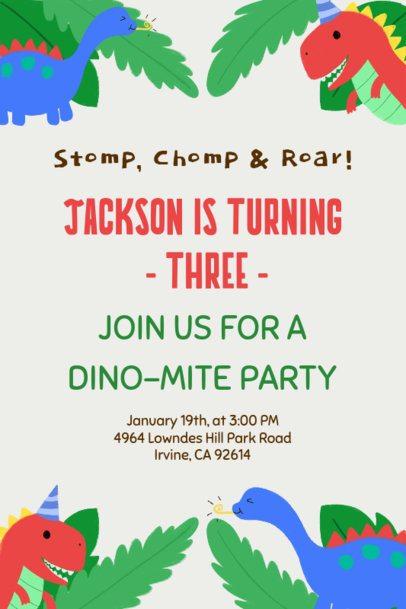 Birthday Party Invitation Card Maker with Dinosaur Illustrations 1685f
