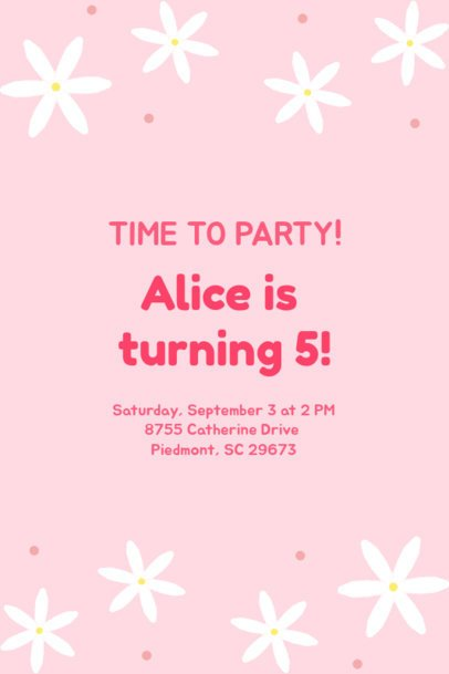 Invitation Maker for a Birthday Party with Flower Graphics 1685g