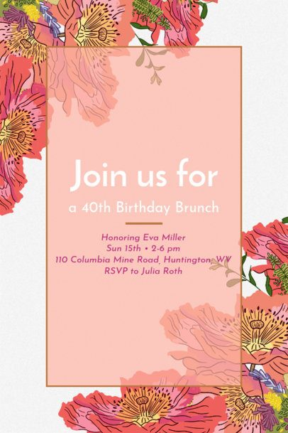 Invitation Maker for a Birthday Brunch 1683c