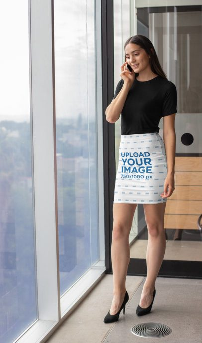 Pencil Skirt Mockup Featuring a Woman at the Office 28682