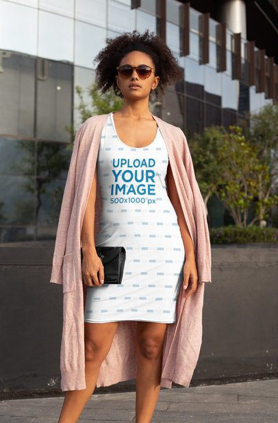 Racerback Dress Mockup of a Stylish Woman Holding Her Purse 28772