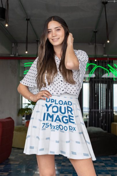 Skater Skirt Mockup of a Woman Wearing a Dotted Top 28678