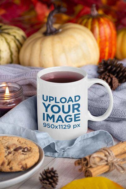 11 oz Mug Mockup Featuring Thanksgiving Decorations 29147