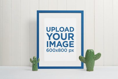Picture Frame Mockup Featuring Two Cactus Sculptures 544-el