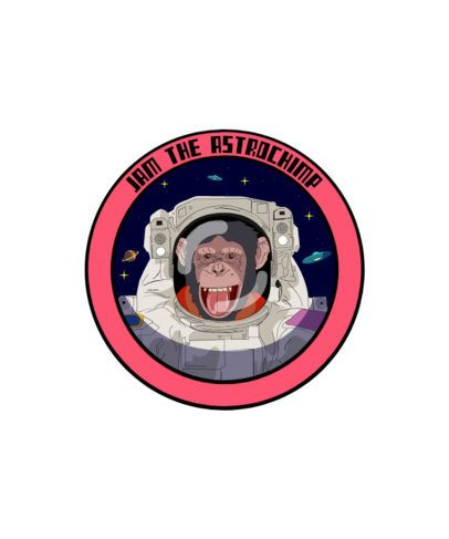 T-Shirt Design Template Featuring an Astronaut Monkey 1717g