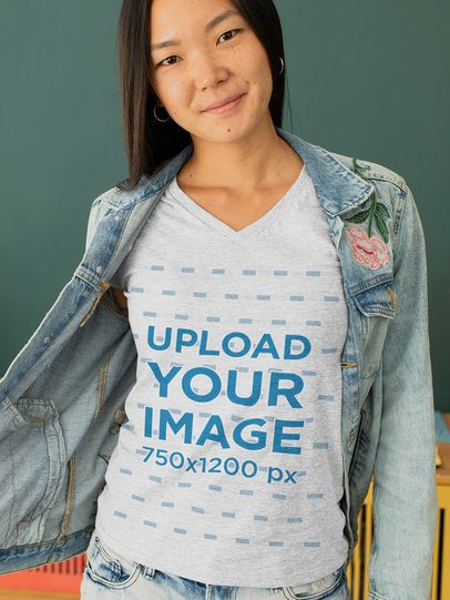 Heather T-Shirt Mockup of a Young Woman with a Denim Jacket 28751