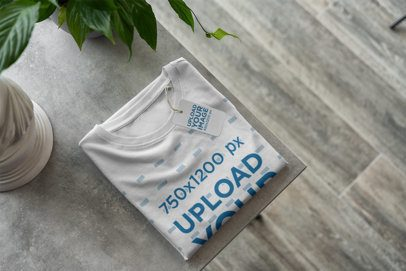 Mockup of a T-Shirt with a Brand Tag Attached 376-el