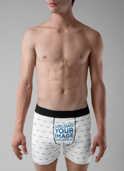 Underwear Mockup of a Young Man Wearing Boxers at a Studio 29133