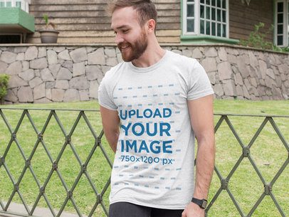 Heathered T-Shirt Mockup of a Man in Front of a House 28734