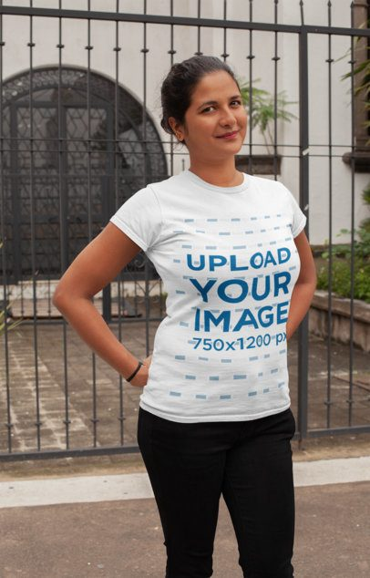 Crewneck T-Shirt Mockup of a Woman Posing in Front of a House 28936