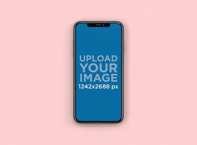 iPhone XS Max Mockup featuring a Color-Custom Backdrop 244-el