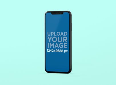 Mockup of an iPhone XS Max Standing in a Color-Custom Setting 247-el