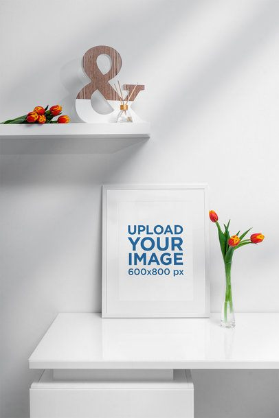 Poster Frame Mockup Featuring a Flower Vase with Tulips 500-el