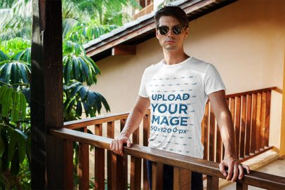 Tee Mockup Featuring a Man with Sunglasses at a Tropical Location 514-el