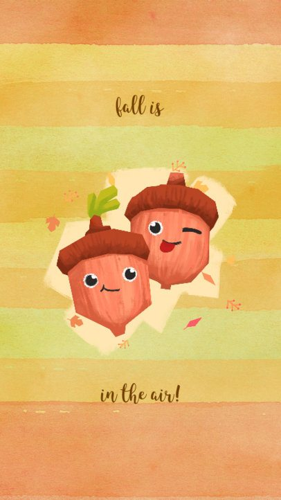 Autumn-Themed Instagram Story Maker Featuring Two Illustrated Cute Acorns 1044o