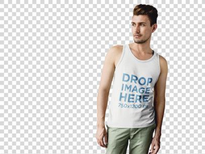 Tank Top Mockup of a Guy Standing in Front of a White Wall a9992